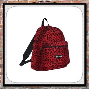 🎯 Authentic Supreme Red Leopard Fleece Backpack